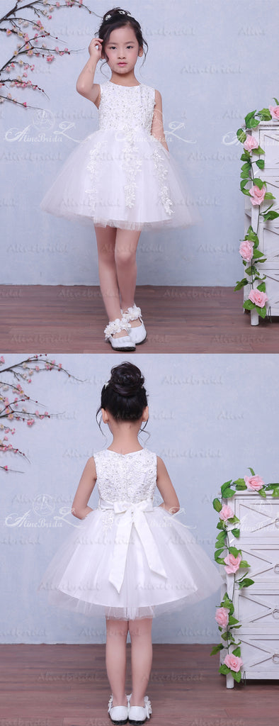 White Tulle Lace Beaded Applique Sleeveless Vintage Flower Girl Dresses, FGS036
