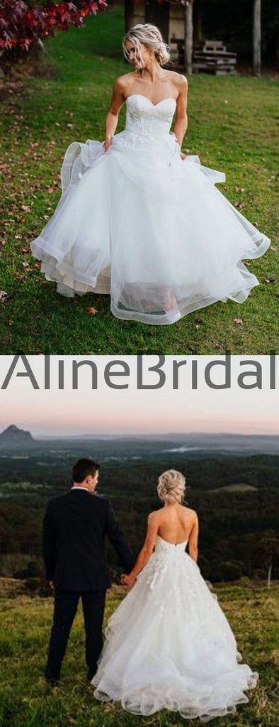 White Tulle Sweetheart Strapless Backless Ball Gown Wedding Dresses, AB1567