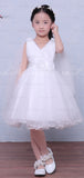White Tulle V-neck Sleeveless Handmade Flower Simple Flower Girl Dresses , FGS125