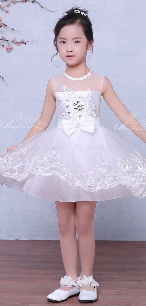 Wihte Lace Illusion Neckline Sleeveless Flower Girl Dresses, FGS029