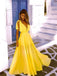 Yellow Chiffon V-neck Sleeveless A-line Simple Prom Dresses,PD00318