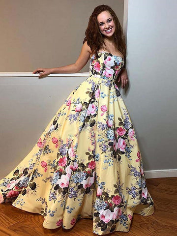 products/Yellow_Floral_Prints_Satin_Sweetheart_Strapless_Prom_Dresses_PD00373-1.jpg