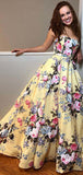 Yellow Floral Prints Satin Sweetheart Strapless Prom Dresses,PD00373
