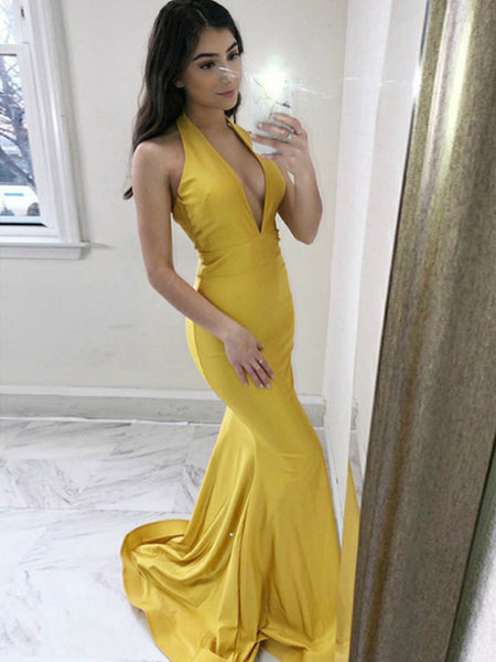 Yellow Jersey Halter Deep V-neck Mermaid Sexy Evening Party Prom Dresses ,PD00372