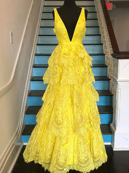 Yellow Lace Tiered Vintage V-neck A-line Prom Dresses ,PD00377