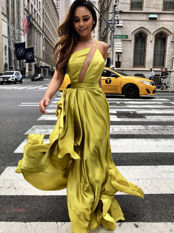 Yellow One Shoulder Backelss Spaghetti Strap Sexy Prom Dresses ,PD00197