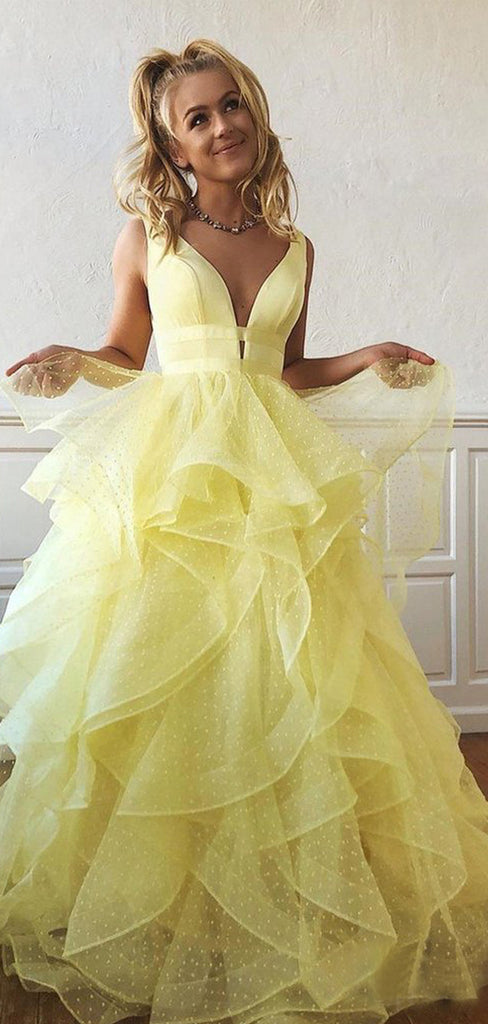 Yellow Organza Ruffles Ball Gown For Teens Prom Dresses.PD00251