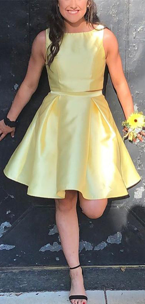 Yellow Satin Two Piece Charming Homecoming Dresses,HD0042