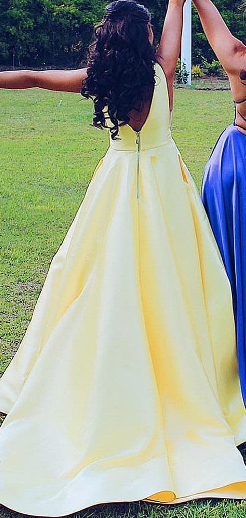 Yellow Satin V-neck Sleeveless Pockets A-line Prom Dresses,PD00355