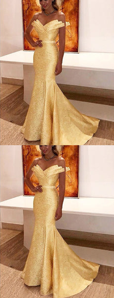 Yellow Satin With Beads Unique Strapless Mermaid Prom Dresses.PD00226