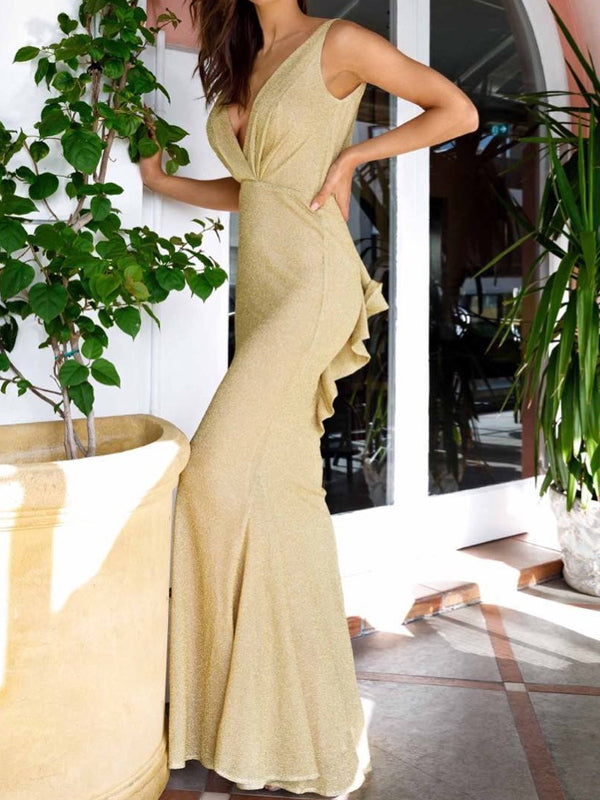 Yellow Shiny V-neck V-back Mermaid Long Prom Dresses,PD00165