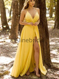 Yellow Spaghetti Strap V-neck With Belt Sexy Bridesmaid Dresses, AB4099