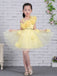 Yellow Tulle Handmade Flower Unique One Shoulder Sweet Flower Girl Dresses, FGS130
