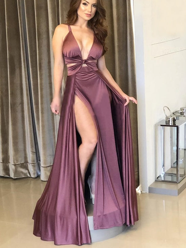 Youngh Purple Satin Chiffon Sexy Slip Simple Long Prom Dresses,PD00347