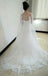 Vintage Lace Appliques Beads Mermaid Lace Up Back Tulle Watteau Train  Wedding Dress, AB1099