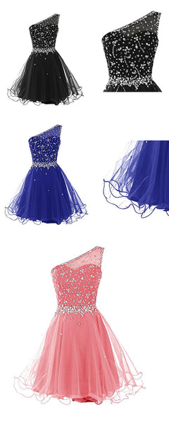 Short One Shoulder Popular Junior Graduation Sweet 16 Cocktail Rhinestone Tulle  Homecoming Dresses,BD00201