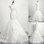 Elegant Cap Sleeve Lace Appliques Beads Mermaid Lace Up Back Sweep Train  Wedding Dress, AB1100