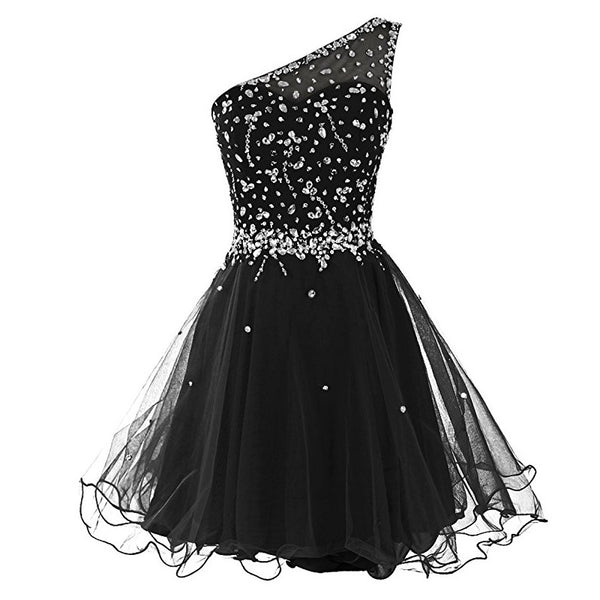 Short One Shoulder Popular Junior Graduation Sweet 16 Cocktail Rhinestone Tulle  Homecoming Prom Dresses,BD00201