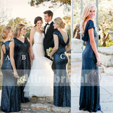 Popular Mismatched Dark Navy Sequins Mermaid  Bridesmaid Dresses. AB1201