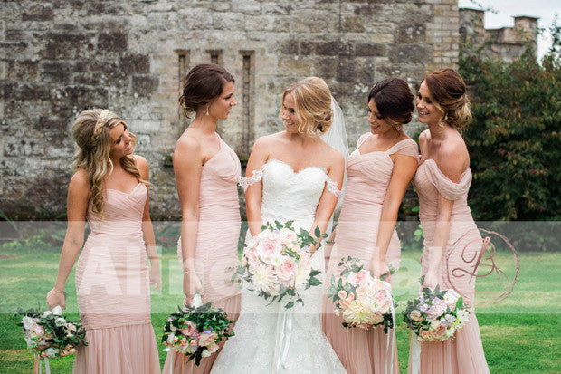 Blush Pink Pleating Tulle Mismatched Mermaid Bridesmaid Dresses. AB1202