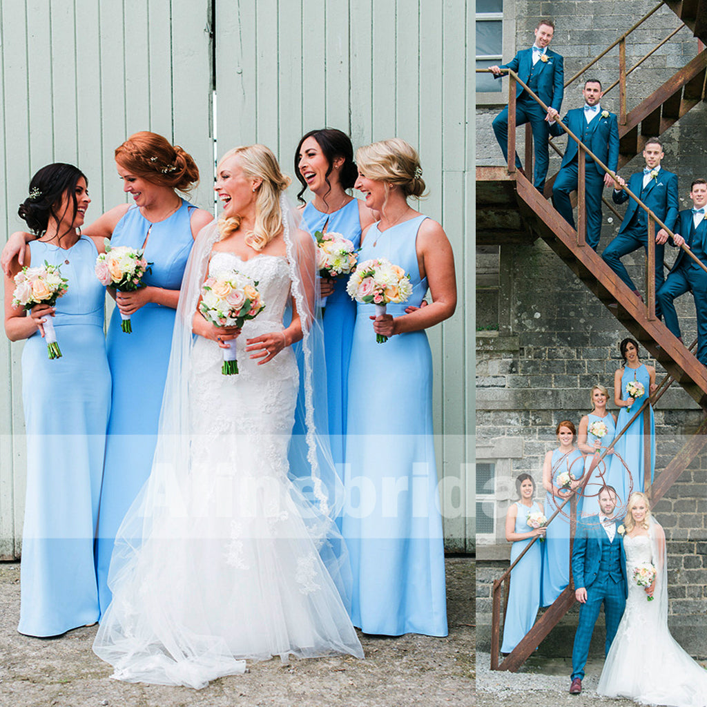 Elegant Blue Sleeveless Open Back Spring Wedding Party  Bridesmaid Dresses. AB1204
