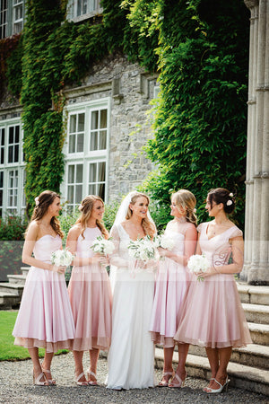 New Arrival Pink Mismatched Tea-length A-line Spring Bridesmaid Dresses. AB1206