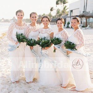 Charming Ivory Lace Long Sleeve Round Neck A-line Bridesmaid Dresses. AB1207