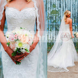 Affordable Ivory Lace Sweetheart Strapless Unique Mermaid Wedding Dresses, AB1138
