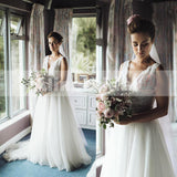 Simple Country Wedding Ivory Lace Top Tulle Sleeveless A-line Wedding Dresses, AB1130