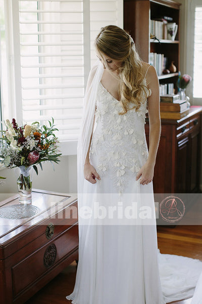 Charming Spaghetti Strap Ivory Chiffon Unique Feather Appliques Wedding Dresses, AB1131