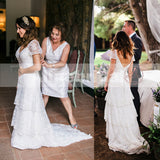 Ivory Lace Tiered Skirts Short Sleeve V-back Vintage Wedding Dresses, AB1132