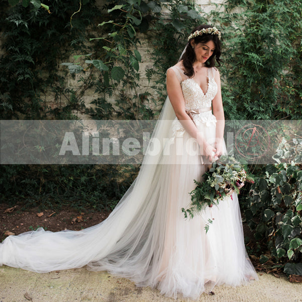 Elegant V-neck Lace Top Tulle Bottom A-line Boho Wedding Dresses, AB1133