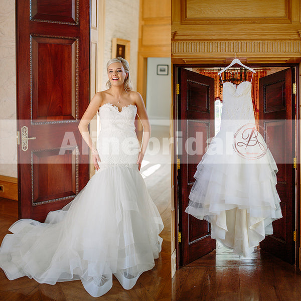 Sweetheart Strapless Lace Top Ruffles Mermaid Elegant Wedding Dresses, AB1134