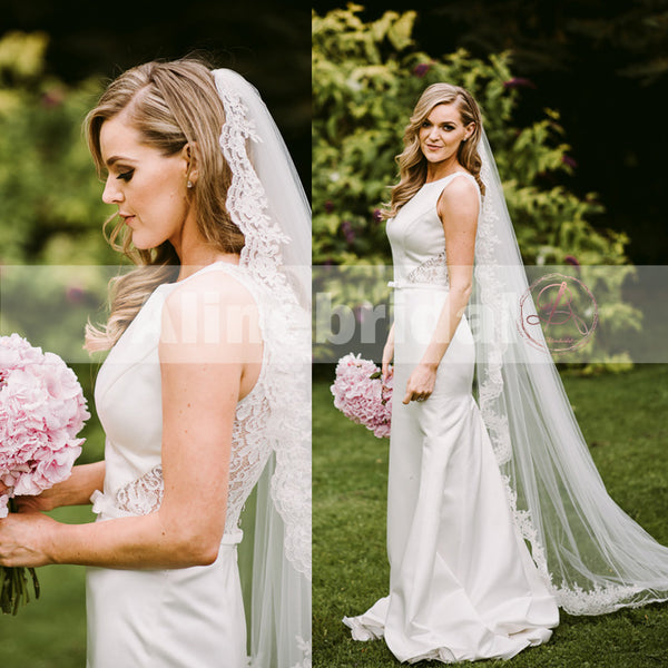 Formal Round Neck Sleeveless Lace Back Satin Mermaid Wedding Dresses, AB1135