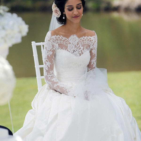 Elegant Long A-line Train Sash Sweetheart Off Shoulder Long Sleeve Lace Satin Wedding Dress, AB1093