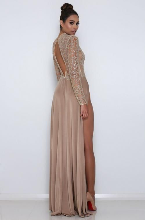 Brown Jersey Shiny Lace Long Sleeve High Neck Prom Dresses ,PD00301