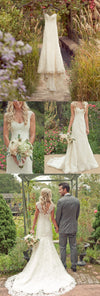 Long A-line  Wide Lace Shoulder Strap Deep V-back Sleeveless Train  Sweetheart Full Lace Country  Wedding Dress, AB1094