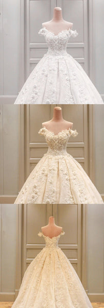 Charming Long A-line V-neck  Off Shoulder Three-dimensional Flower Appliques  Lace  Wedding Dress, AB1092