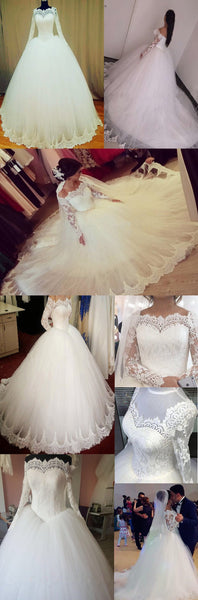 Elegant Long A-line Large Train Sweetheart Off Shoulder Long Sleeve Lace  Wedding Dress, AB1091