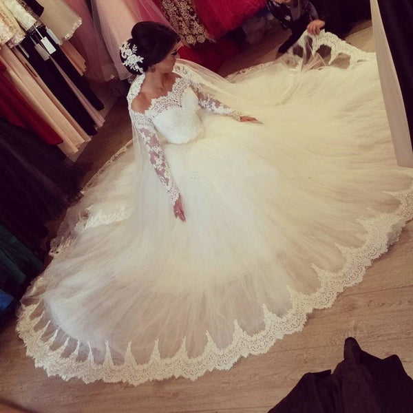e0b68ec4839 Elegant Long A-line Large Train Sweetheart Off Shoulder Long Sleeve Lace  Wedding Dress