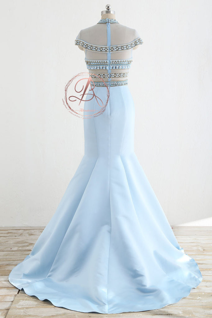 Stunning Pale Blue  Beaded See Through Top Cap Sleeve Mermaid Prom Dresses,PD00066
