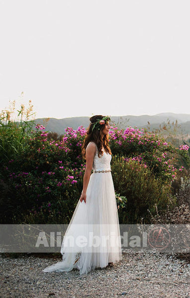 Beaded sleeveless Ivory Tulle Shinning Bling A-line Wedding Dresses, AB1140