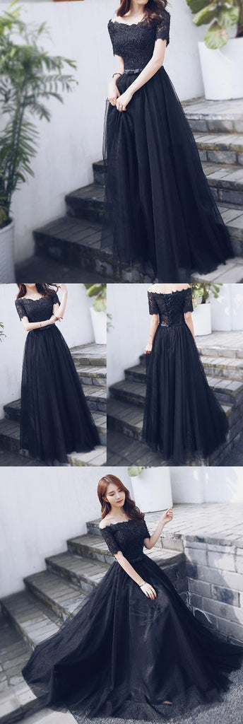Off Shoulder Black Lace Fashion A-line lace Up Back Teenager Prom Dresses,PD00016