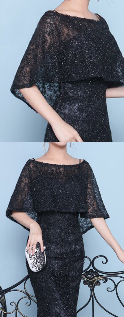 Sparkly Beading Black Lace With Shawl Mermaid Formal Party Prom Dresses,PD00017