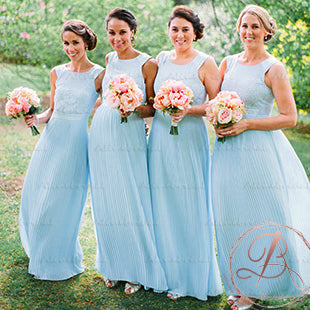 Pale Blue Lace Top Pleating Chiffon Scoop Neck Wedding Party Long A-line Bridesmaid Dresses . AB1189