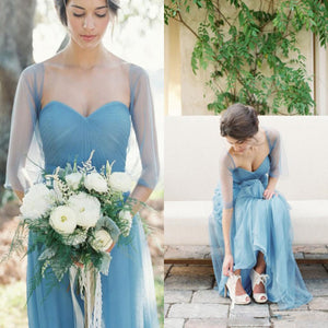 Long Elegant Pleated Strapless Sweetheart Tulle Shawl Blue Simple Style Wedding Party Bridesmaid Dress, AB1166