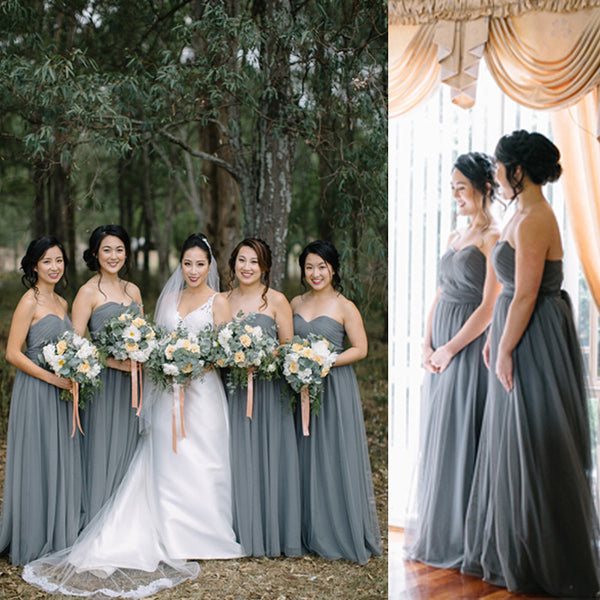 Cheap Long Elegant Pleated Strapless Sweetheart Dark Grey Sash Chiffon Wedding Party Bridesmaid Dress, AB1167