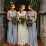 Popular Hot Sale Grey Convertible Backless Chiffon  Long Wedding Party Bridesmaid Dresses, AB1176