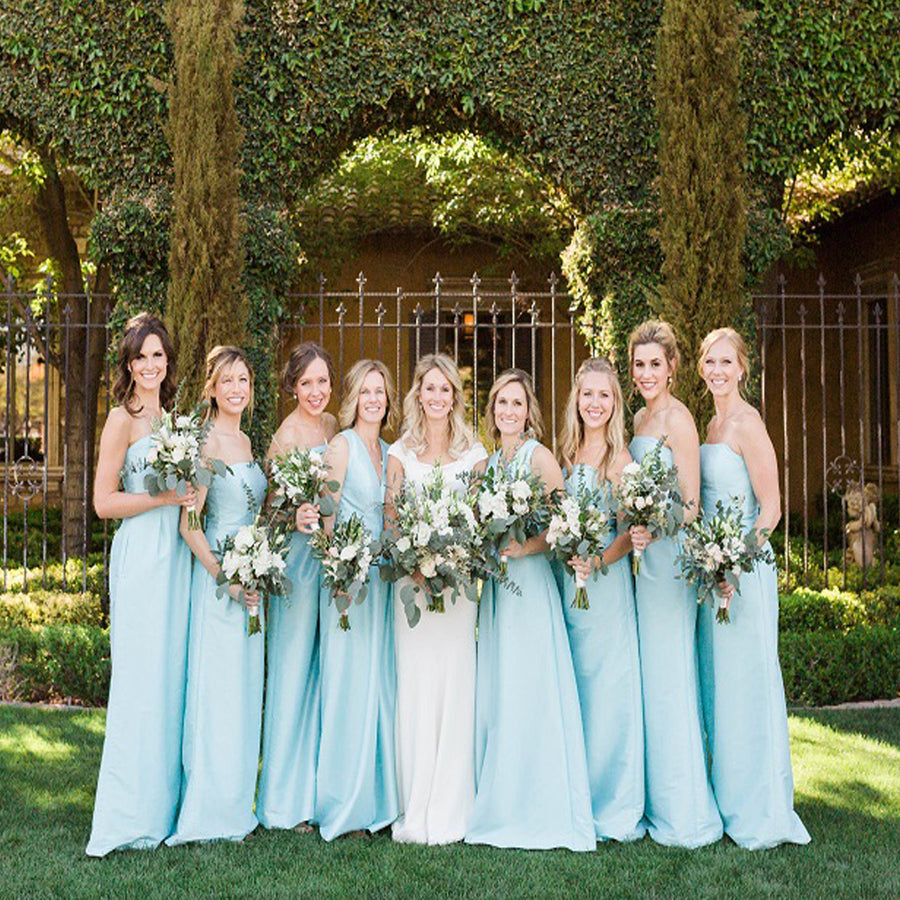 Bridesmaid dresses alinebridal simple elegant blue mismatched strapless and v neck long column bridesmaid dresses ab1185 ombrellifo Image collections