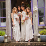 Elegant Grecian Mermaid Halter Wedding Party Long Pom Dresses, Bridesmaid Dress. AB1182